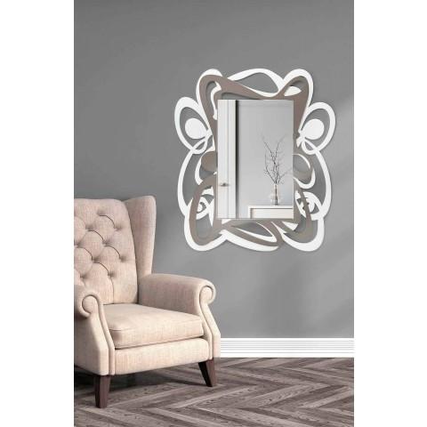Dizajn i madh modern i bardhë dhe beige Pasqyra e murit - Bocchio