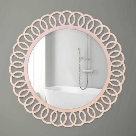 Pasqyrë e madhe në mur me dizajn dekorativ dhe modern në dru rozë - kurorë