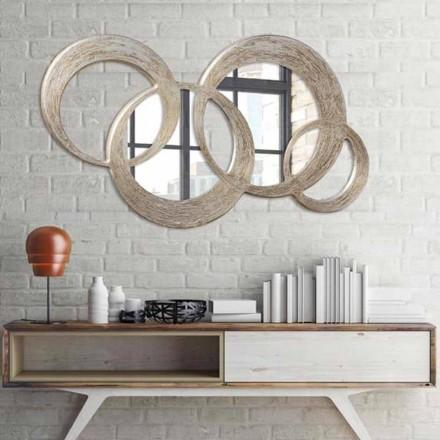 Pasqyrë moderne Ball, zbukuruar me fletë argjendi