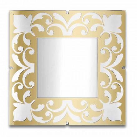 Kornizë pasqyre katrore në ar, me bronz, dizajn argjendi - Foscolo
