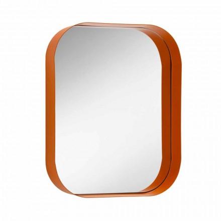 Pasqyrë drejtkëndëshe e rrumbullakosur, kornizë metalike prodhuar në Itali - Alexandra