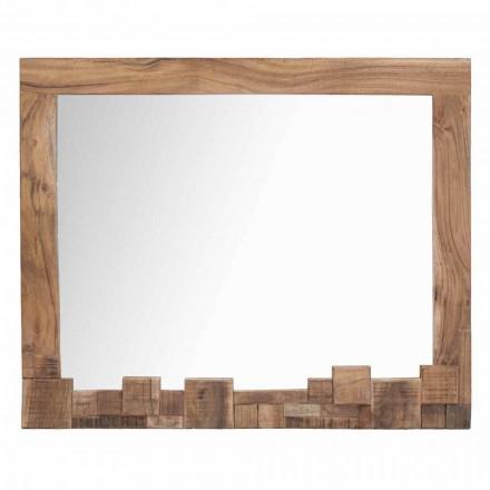 Pasqyrë moderne drejtkëndëshe e murit me kornizë druri të akacies - Eloise