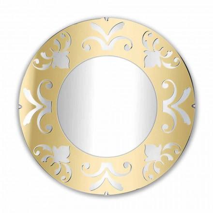 Pasqyrë e rrumbullakët me argjend ari ose pleksiglas prej bronzi me kornizë - Foscolo