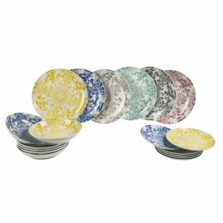 Shërbim tavoline i shtruar me ngjyra prej porcelani 18 Copë - Picoto
