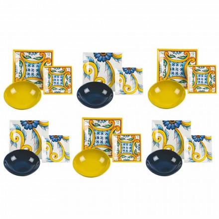 Tavolinë elegante me ngjyra, Porcelani dhe Gresi prej guri 18 Copë - Pllaka