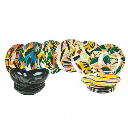 Vendosni Shërbimin e Tavolinës në Porcelani dhe Gresi me Ngjyra 18 Copë - Tekila