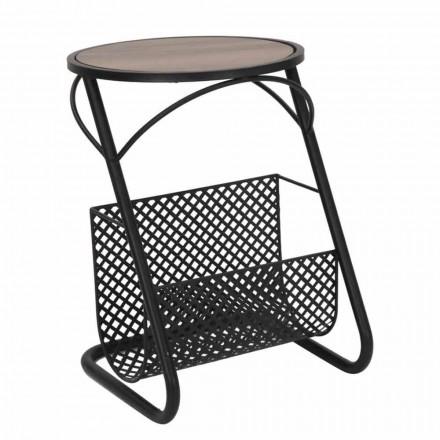 Tavolinë kafeje moderne për dhomën e ndenjes Raft i Gazetës në MDF dhe Hekuri - Trevor
