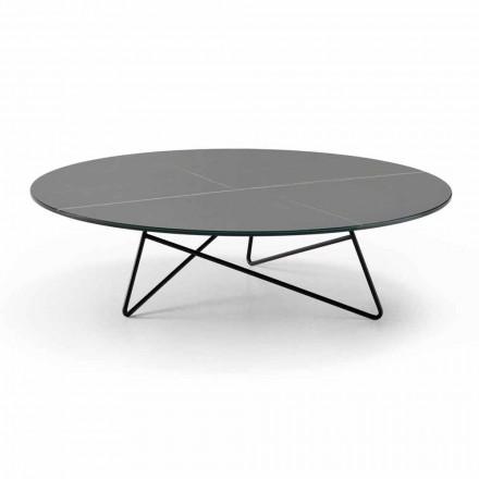 Tavolinë e rrumbullakët kafeje për dhomën e ndenjes në metal dhe xham me efekt luksoz mermeri - Magali