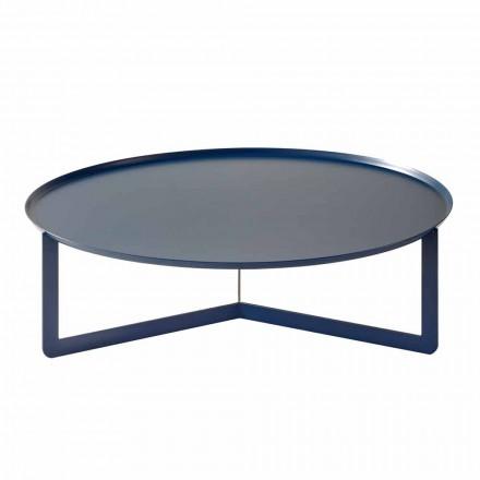 Tavolinë e rrumbullakët e ulët në natyrë në metal me ngjyra prodhuar në Itali - Stephane