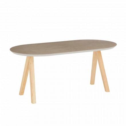 Tavolinë kafeje në modelin modern oval të drurit qeramik dhe natyror - Amerigo
