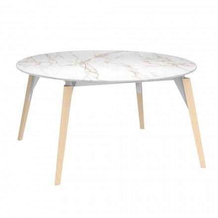 Tavolina e rrumbullakët Kafe Efekti Mermer Top, 3 Ngjyra 2 Madhësitë - Faz Wood nga Vondom
