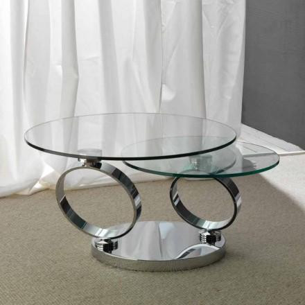 Tavolinë kafeje qelqi Chieti me tryeza të rrumbullakëta të luajtshme