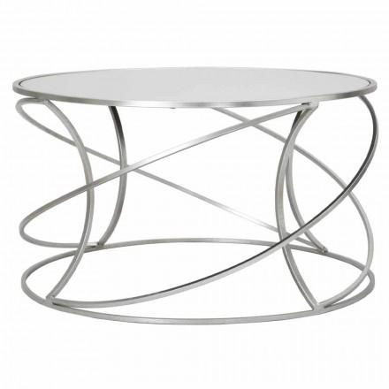 Tavolinë e ulët kafeje për dhomën e ndenjes në hekur dhe pasqyrë moderne - Corine