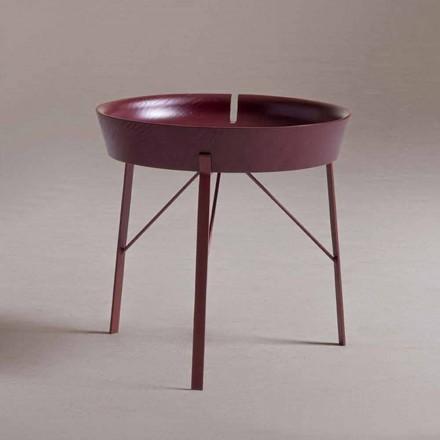 Tavolinë kafeje për dhomën e ndenjes në dizajn modern prej çeliku dhe druri me ngjyra - Fshikëza