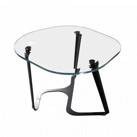Tavolinë kafeje e punuar me dorë në Qelq dhe Çelik Prodhuar në Itali - Marbello