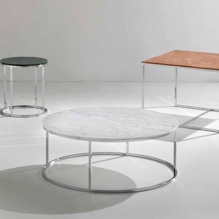Tavolinë kafeje e bërë nga mermeri i bardhë Carrara, model modern, Zeus