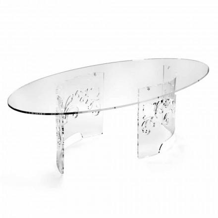 Tavolinë kafeje në pleksiglas të tymosur ose transparent me bazë të zbukuruar - Crassus