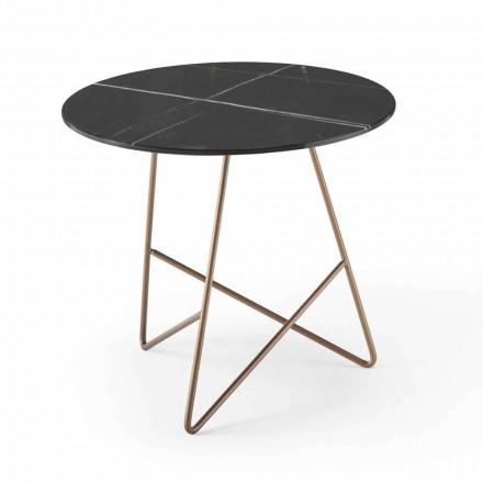 Tavolinë kafeje e rrumbullakët në xham me efekt metali dhe luksoze mermeri - Magali