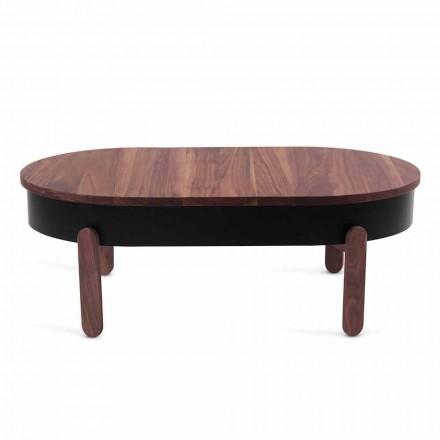 Dizajnoni tryezë kafeje në dru të ngurtë dhe metal të lakuar - Salerno