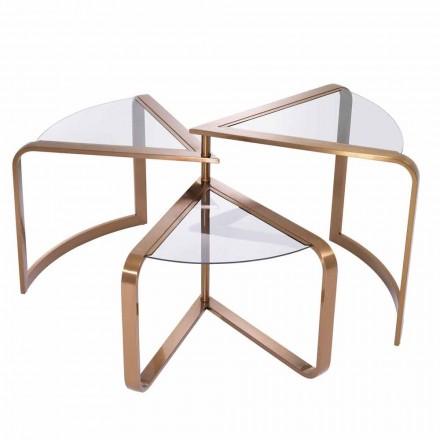 Projektoni tryezë kafeje në xham me detaje të përfundimit të bakrit - Carpi