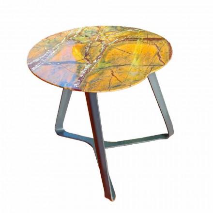 Tavolinë kafeje e punuar me dorë në mermer dhe çelik prodhuar në Itali - Prince