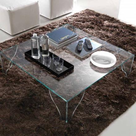 Tavolinë kafeje në kristal transparent shumë të qartë të prodhuar në Itali - litium