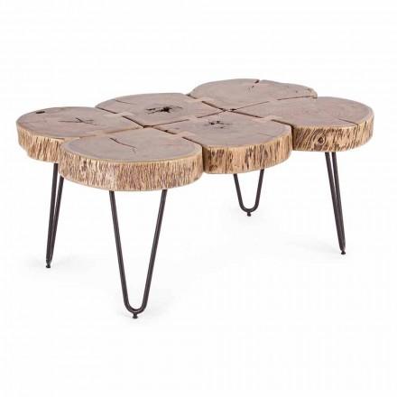 Tavolinë kafeje në dru të akacies dhe çelik të pikturuar në lëvizje - Havana