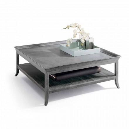 Tavolinë kafeje e dhomës së ndenjes, dizajni klasik Berit, druri i lyer me argjend