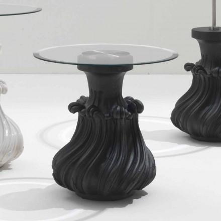 Tavolinë kafeje në dru të ngurtë dhe me diametër kristal 60 cm, Margo