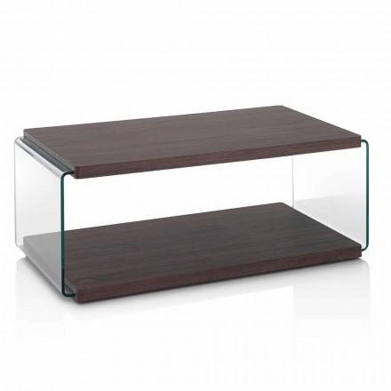Tavolinë kafeje në MDF me arra dhe gotë transparente në 2 madhësi - Mindie