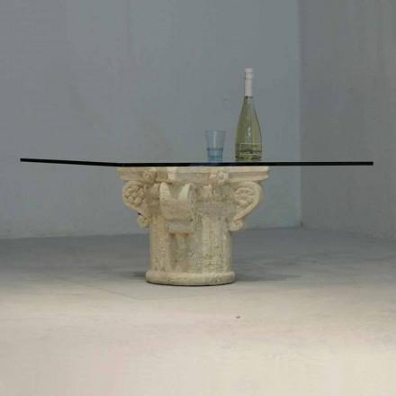 Tavolinë kafeje klasike e bërë nga guri natyror Vicenza dhe kristal Balos