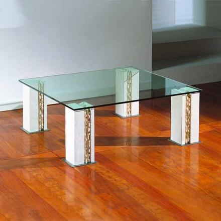 Tavolina kafeje natyrore Vicenza dhe kafeje kristali Milos, e bërë në Itali