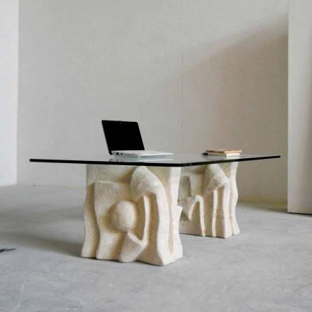 Tavolinë kafeje klasike natyrore Vicenza me kristal të lartë Priamo-S