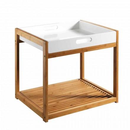 Tavolinë kafeje prej druri moderne bambu me tabaka të bardhë MDF - Volly
