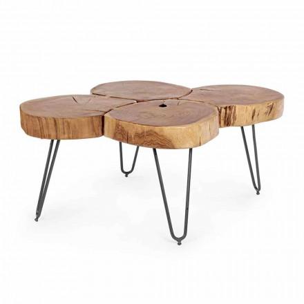 Tavolinë kafeje Moderne Homemotion në dru dhe çelik të pikturuar - Severo