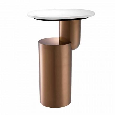 Tavolinë kafeje moderne në mermer të bardhë me bazë të përfundimit të bakrit - Cosenza