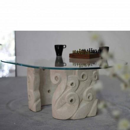 Tavolinë kafeje klasike e bërë nga guri natyror Vicenza dhe kristal Lindos