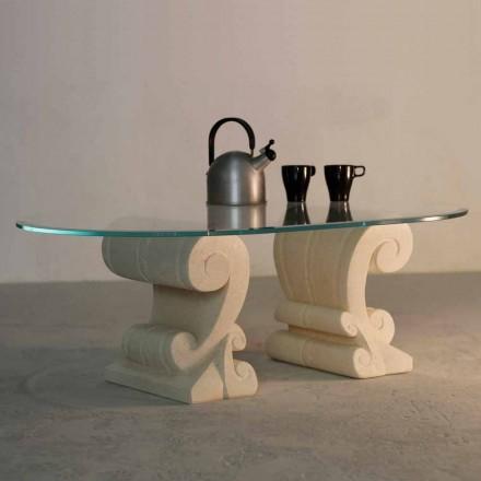 Tavolinë kafeje me majë kristali dhe baza guri natyror Vicenza Aracne-S