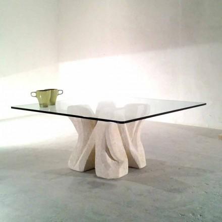 Tavolinë kafeje me gur natyral Vicenza me kos të lartë kristal