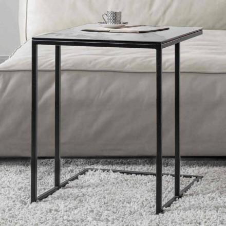Tavolinë kafeje katrore në xham qeramike me bazë metalike - Anselmo