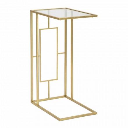 Tavolinë Kafe Drejtkëndëshe në Hekur dhe Xham Modern - Albertino