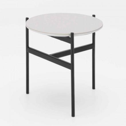 Tabela e kafes së rrumbullakët me qeramikë dhe metalikë me dizajn modern - Gaduci