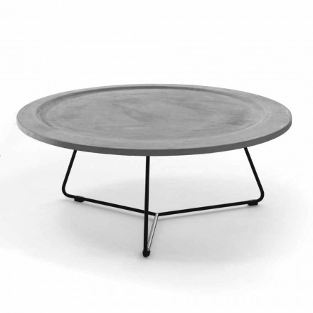 Tavolina e rrumbullakët e kafesë në beton dhe metal të zi prodhuar në Itali - Evolve