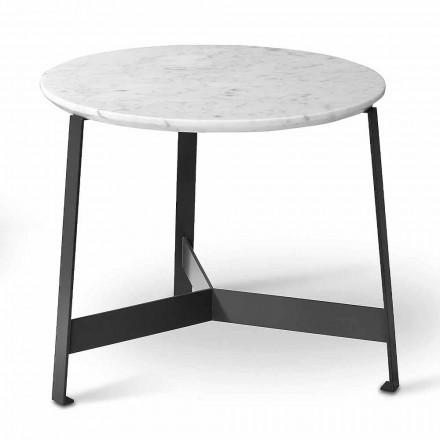 Tavolinë kafeje e rrumbullakët mermeri me bazë metalike prodhuar në Itali - Juliana