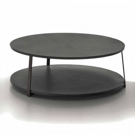 Tavolinë kafeje e rrumbullakët në MDF me strukturë metalike prodhuar në Itali - Aloe