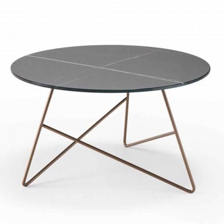 Tavolinë kafeje e rrumbullakët prej metali me majë xhami me efekt mermeri - Magali