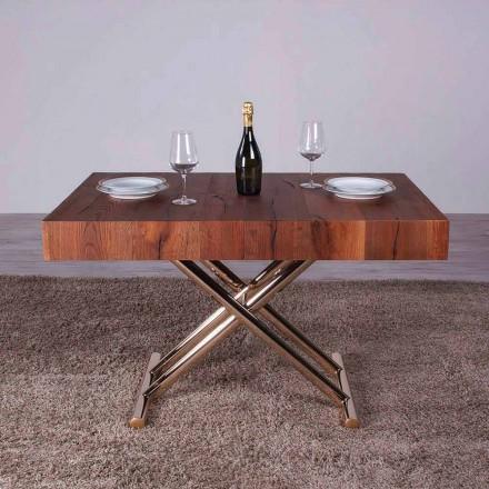 Transformimi i tryezës së kafesë në dru dhe metal prodhuar në Itali - Patroclo