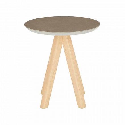 Tavolinë kafeje për dhomën e ndenjes së rrumbullakët në dru hiri dhe maja qeramike - Amerigo