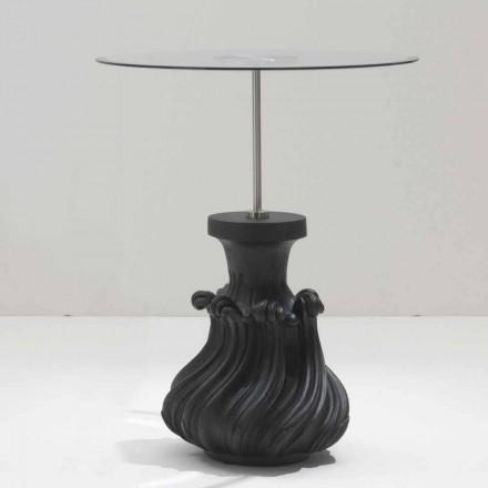 Tavolina e kafesë Margo cm 60 cm, druri i ngurtë nga kristali dhe rëra e zezë