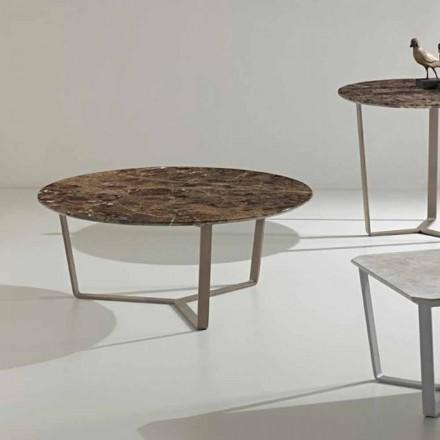 Tavolina e rrumbullakët e kafesë e bërë nga mermeri emperador, dizajn modern, Adone
